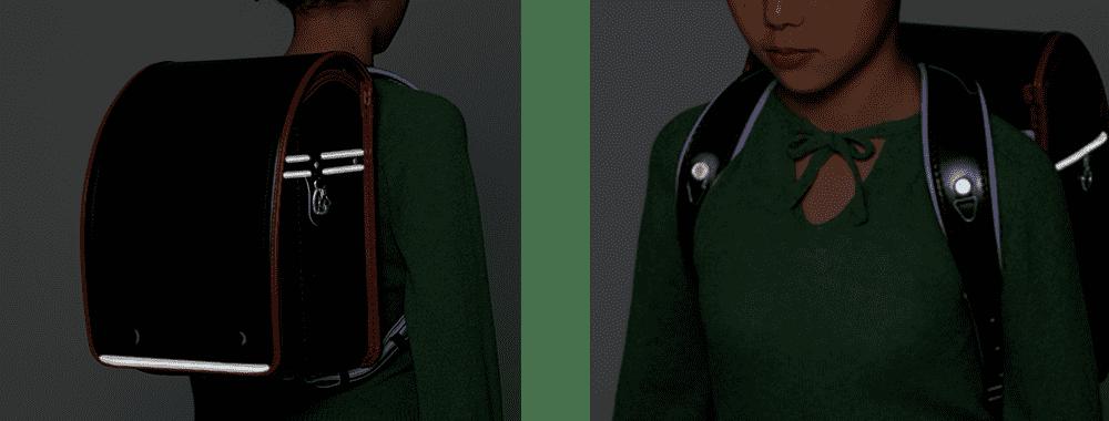 ランドセルの反射材の画像 神田屋鞄